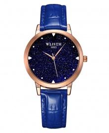 Wlisth Fashion Starry Sky Women's Waterproof Quartz Leather Watch - Blue