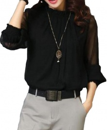 Women's New Fashion Ruffled Chiffon Long-Sleeved Shirt