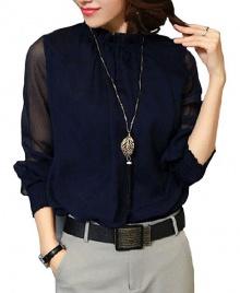 Women's New Fashion Ruffled Chiffon Long-Sleeved Shirt - Navy
