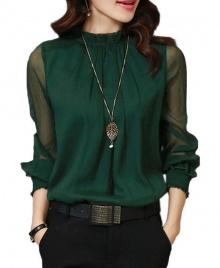 Women's New Fashion Ruffled Chiffon Long-Sleeved Shirt - Green