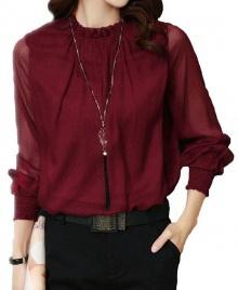 Women's New Fashion Ruffled Chiffon Long-Sleeved Shirt - Wine
