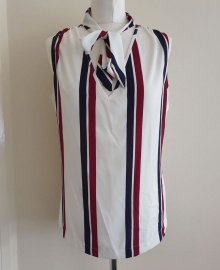 Striped V-Neck Sleeveless Top with Neck Tie