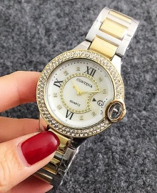 Contena Luxury Ladies Studded Womens Quartz Watch - Gold and Silver