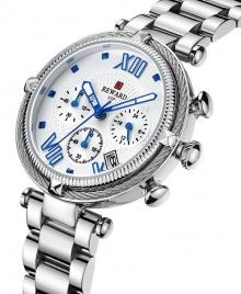 Reward VIP Women Three Eyes Quartz Bracelet Wrist Watch - Silver