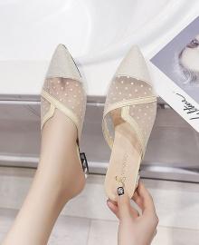 Women's Fashion Transparent Pointed Toe Low Heel Sandal