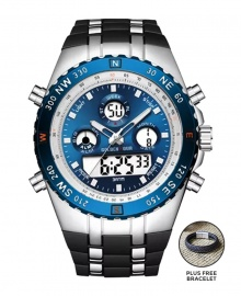 Golden Hour Military Dual-Time Waterproof Silicone Rubber LED Sport Watch - Blue Face