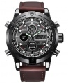 Xinew New Fashion Digital Men Leather Analog and Digital Watch Dual Time Watch - Wine - Seli.com.ng