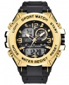 Curdden Multifunction Dual Display Digital Waterproof Rubber Strap Sport Watch - Gold