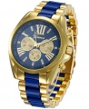 Geneva Full Steel Unisex Quartz Analog Gold Wrist Watch - Blue