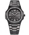 Luxury Stone Studded Quartz Men Bracelet Wrist Watch - Black