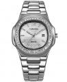 Luxury Stone Studded Quartz Men Bracelet Wrist Watch - Sliver