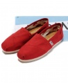TOMS Classic Canvas Casual Slip-On Shoes - Red