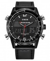 Xinew Digital and Analog Dual Time Tachymeter Leather Watch - Black