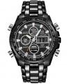 Curdden Brand New Fashion Men Analog and Digital Led Dual Time Bracelet Wrist Watch - Black - Seli.com.ng