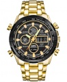 Curdden Brand New Fashion Men Analog and Digital Led Dual Time Bracelet Wrist Watch - Gold