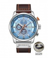 Curren 8291 Men's Chronograph Casual Fashion Leather Watch - Blue Face + FREE BRACELET