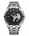 Wlisth 1853 Men's Waterproof Bracelet Silver Chain Watch - Black Face