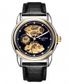 Wlisth 1853 Men's Automatic Mechanical Leather Watch - Black Leather