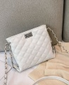 Wowen's Rhombic Embroidered Line Shoulder Crossbody Bag - White