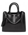 Women's Fashion Leather Trapeze Handbag - Black