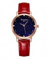 Wlisth Fashion Starry Sky Women's Waterproof Quartz Leather Watch - Red